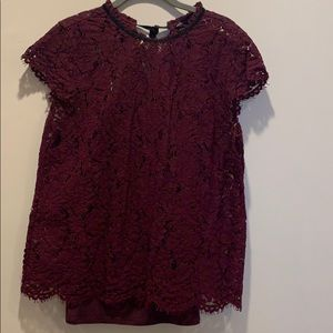 WHBM size M burgundy lace top